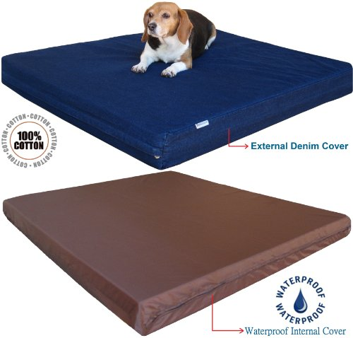 Heavy-Duty-Extra-Large-Orthopedic-Memory-Foam-Waterproof-Pet-Bed-with-Strong-Rewashable-Denim-Cover-Free-Bonus-Case