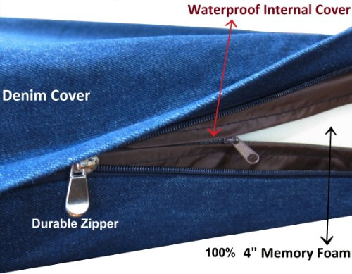 Heavy-Duty-Extra-Large-Orthopedic-Memory-Foam-Waterproof-Pet-Bed-with-Strong-Rewashable-Denim-Cover-Free-Bonus-Case 2